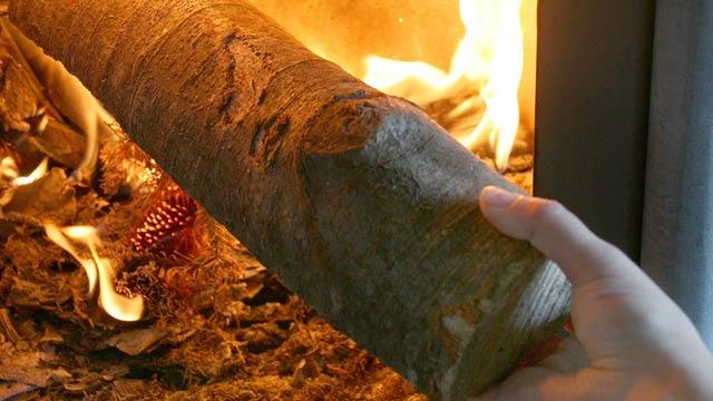 kamin kurjenje lesa